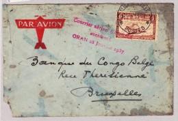 Congo Belge - Poste Aérienne - Lettre Accidentée à Oran Le 28 Janvier 1937 - Poste Aérienne: Lettres