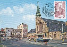D19498 CARTE MAXIMUM CARD TRIPLE 1989 LUXEMBOURG - RAILWAY STATION  CP ORIGINAL - Architecture