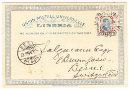 Liberia - UPU Ganzsache 5-2-1894 Monrovia Nach Bern - Liberia