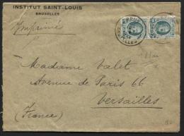 10c Houyoux (2) Tarif Imprimé Drukwerk 100gr Sur Bande Manchon Obl. BRUXELLES (ETOILE Ds Dateur) Vs Versailles 1924(582) - 1922-1927 Houyoux