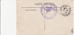 HOPITAL COMPLEMENTAIRE N°37- PAU -CACHET A DATE VIOLET SUR CARTE POSTALE -CAD PAU 8-6-16 - Marcophilie (Lettres)