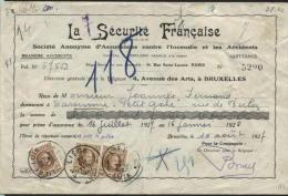 TRIPLE PRESENTATION Sur Reçu Affr. 50c Obl. LIEGE (3 Dates Diff.!) 1927 (583) - 1922-1927 Houyoux