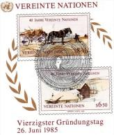 Nations Unis Vienne 1985 : Bloc Feuillet N°2 Oblitéré.1e Jour . 40e Anniversaire Des Nations Unis - Oblitérés