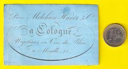 KÖLN Ca1845 MELCHIOR HARDT NEGOCIANTS EN VINS Du RHIN MOSELLE à COLOGNE CARTE VISITE PORCELAINE PORSELEINKAART Vin P250 - Visitenkarten
