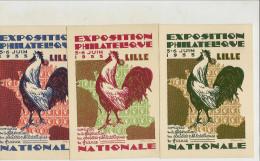 Entier Cartes Postales Commemorative Timbrée Sur Commande Serie De 3 Carte Neuves Lille 1933  Ref Stoch I1a,b,c - Ganzsachen