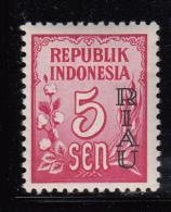Indonesia - Riau Archipelago MH Scott #1 Overprint On 5s Indonesia - Indonésie