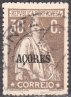 "AÇORES-1921-1924, Tipo «CERES». Selos Do Cont. C/ Sobrec. "" AÇORES "" 30 C.  D. 15x14   (o) Afinsa Nº 182 - Azores"