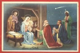 CARTOLINA VG ITALIA - BUON NATALE - Sacra Famiglia E I  Re Magi - 9 X 14 - ANN. TARGHETTA ORCHIDEA BIANCA 1949 - Natale