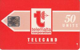 MALTA - Telecom Logo/orange(glossy Surface), First Issue 50 Units, Chip SC5, CN : 32361, 07/91, Used - Malta