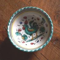 Green Rooster - Mini  Bol Au Coq - Mini Rooster Bowl - Haan Kommetje - Hahn  (SE425) - Deruta (ITA)