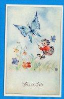 Mans1134, Butterfly, Papillon Transportant Une Petite Fille Dans Un Panier, 55, Fantaisie, Non Circulée - Holidays & Celebrations