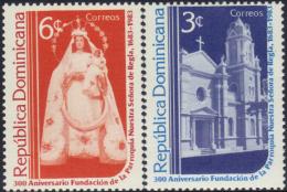 DOMINICAN CHURCH STATUE OUR LADY Of REGLA Sc 889-90 MNH 1983 - Dominikanische Rep.