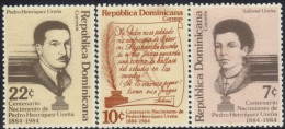 DOMINICAN PEDRO HENRIQUEZ URENA Sc 904-6 MNH 1984 - Dominikanische Rep.