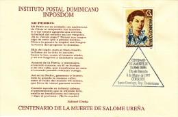 DOMINICAN SALOME URENA POET Sc 1246 FDC 1997 - Dominikanische Rep.
