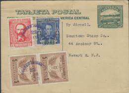 O) 1953 EL SALVADOR, POSTAL STATIONARY, UPRATED FROM EL SALVADOR TO NEWARK USA, WITH JOSE MARTI STAMP. CAR AND MOUNTAIN - El Salvador