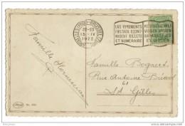 Affranchissement Flamme Belgique Sur Cpa Joyeuse Paques  1922 - Flammes
