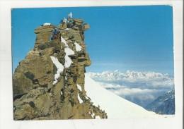86931 ALPINISTI AL GRAN PARADISO VETTA SFONDO CATENA MONTE BIANCO - Aosta