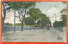 GB010, * EDINBURG,  * VICTORIA PARK, LEITH * WITH TRAM * SENT TO DENMARK 1906 * SE SCANS ! - Tramways