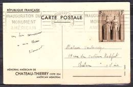 R.B.V. CHATEAU-THIERRY COTE 204  Le 7 10 1937 Aisne  INAUGURATION DU-MONUMENT-AMERICAIN - Mechanische Stempels (varia)