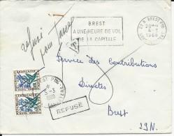 1968 - TAXE FLEURS De 0.6 Sur ENVELOPPE De BREST (FINISTERE)  - REFUSE - 1960-.... Briefe & Dokumente