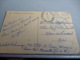 CARTE POSTALE DE MARSEILLE 1945 AVEC CACHET LEGERE MARINE D´EXTREME ORIENT + MARINE EMPIRE INSCRIT SUR L´ANCRE DE MARINE - 1939-45