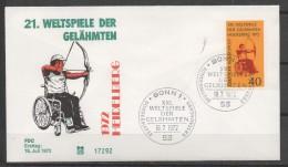 ALLEMAGNE  FDC 1972   Tir A L´arc Handicape - Tiro Con L'Arco