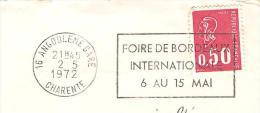 CACHET OBLITERATION FLAMME ANGOULEME FOIRE DE BORDEAUX 1972  ENVELOPPE 16X11 - Marcophilie (Lettres)