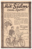 Original Werbung - 1928 - NSU Fahrzeugwerke , Neckarsulm , Fahrrad , Fahrräder , Sulm , Oldtimer !! - Transport