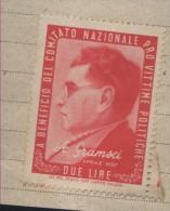 PRO VITTIME  A. GRAMSCI LIRE 2  SU FRAMMENTO - 6. 1946-.. Repubblica
