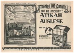 Original Werbung - 1928 - ATIKAH Zigaretten , Auslese , Zigarettenfabrik Delta In Dresden !!! - Sonstige