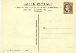 France  Carte Postale Commemorative Exposition Philatelique Niort 1947 La Derie De 4 Cartes Neuves  Ref C2a A C2d Ref St - Ganzsachen