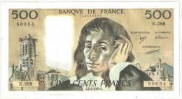 500 F Pascal - 2-2-1989 - K 288 80654 - 1962-1997 ''Francs''
