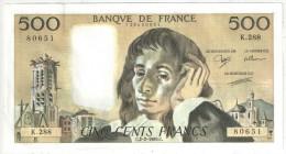 500 F Pascal - 2-2-1989 - K 288 80651 - 1962-1997 ''Francs''