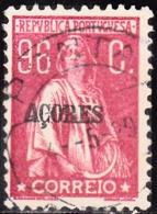"""AÇORES-1924-1928, Tipo «CERES» Selos Do Cont. C/ Sobrecarga, """" AÇORES """" 96 C.  D. 12x11 1/2 (P. Liso)  (o) Afinsa Nº 209 - Azoren"""