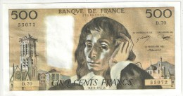 500 F Pascal - 3-2-1977 - D 70 55072 - 1962-1997 ''Francs''