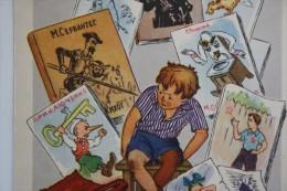 Don Quijote De La Mancha And Other Book Characters Pinocchio). Old USSR Postcard. 1956 - Rare! - Non Classés