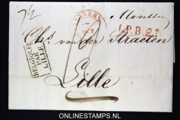 Belgium: Letter From Antwerpen Anvers To Lille 1834 ,  Belgique Par Lille - 1830-1849 (Belgique Indépendante)
