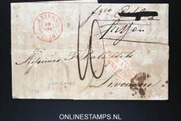 Belgium: Letter From Antwerpen Anvers ToLivourne  1839, Franco Grenzen , Fumigated / Ontsmet - 1830-1849 (Belgique Indépendante)