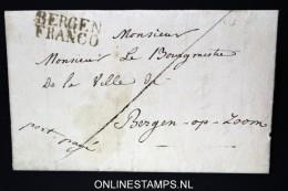 Belgium: Complete Letter Bergen / Mons, Henegouwen To Bergen Op Zoom Holland, Bergen Franco In Black - 1815-1830 (Dutch Period)
