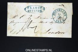 Belgium: Cover Brussels To London, 1840 Franco Ostende - 1830-1849 (Belgique Indépendante)