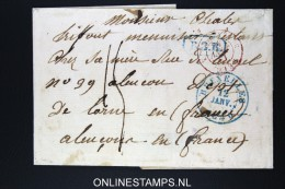 Belgium: Cover Brussels To Alençon 1840  Belgium In Red Bruxelles And B.3.R In Blue - 1830-1849 (Belgique Indépendante)
