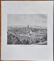 Kunstdruck Freiburg von der Ostseite Litho Lithographie Gr��e 33,8 x 38 cm