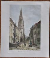 Kunstdruck Georgsbrunnen mit M�nster, Freiburg im Breisgau, Litho Lithographie Gr��e 33,8 x 39 cm