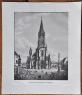Kunstdruck M�nster zu Freyburg im Breisgau, Freiburg, Litho Lithographie Gr��e 33,8 x 39 cm