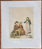 Kunstdruck Trachtengruppe aus der Umgebung Freiburgs um 1850. Freiburg im Breisgau Litho Lithographie Gr��e 33,8 x 39 cm