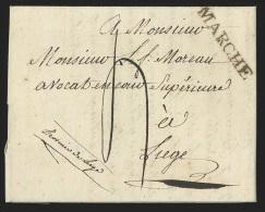 """Belgique - lettre 1817 avec marque """"MARCHE"""" + """"4"""" pour Li�ge"""