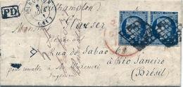 4 Bleu Foncé En Paire Pour RIO De JANEIRO - BRESIL  Par Southampton , Août 1851 - 1849-1876: Période Classique