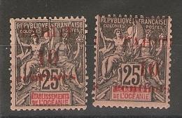 Tahiti _ 2x 25 C -dont 1 Surcharge Trés Déplacée (1903 )