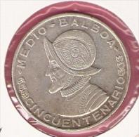 PANAMA 1/2 BALBOA 1953 SILVER KM20 - Panamá