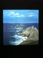Paysage Marin : Pointe Du Raz, Phare De La Vieille - Acrylique Sur Toile Lin-chanvre - Chassis 33 X 46 Cm - Acryliques